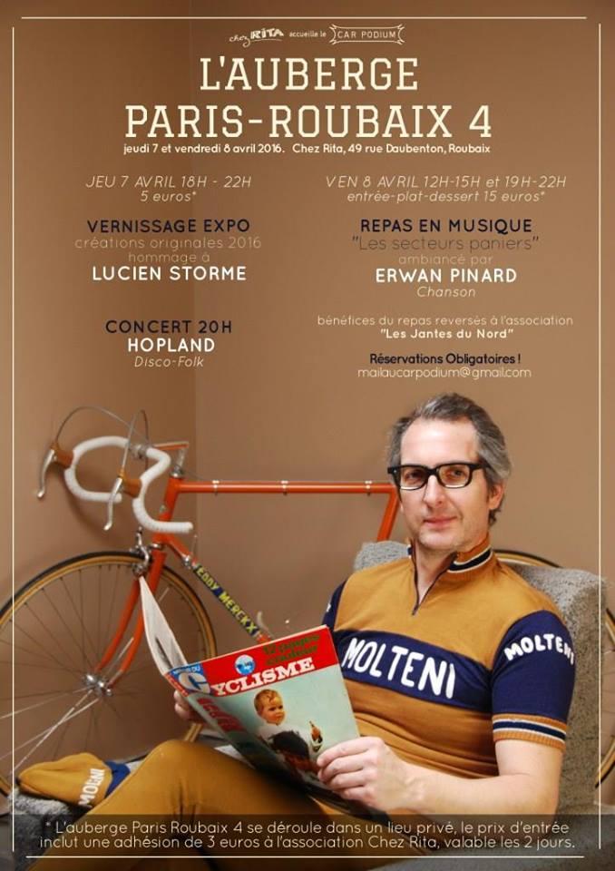 Affiche de l'expo Paris-Roubaix 4 chez Rita AVRIL 2016